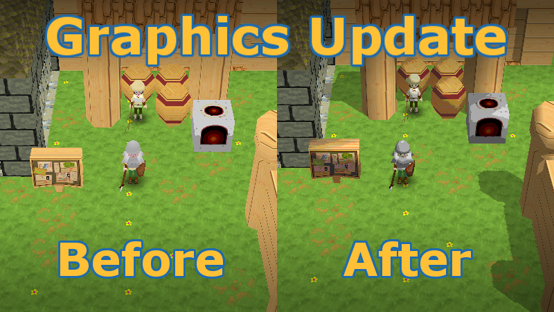 Dragon Banner graphics comparison before and after an update.                  Shadows appear for buildings after the update.